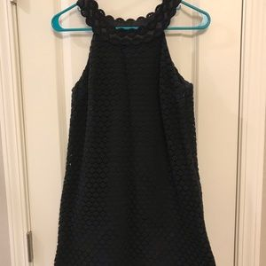 Scalloped Neckline Eyelet Little Black Dress